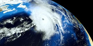 Εξαιρετικά λεπτομερής και ρεαλιστική τρισδιάστατη απεικόνιση υψηλής ανάλυσης ενός τυφώνα στην ατλαντική θάλασσα Πυροβοληθείς από  Στοκ φωτογραφίες με δικαίωμα ελεύθερης χρήσης