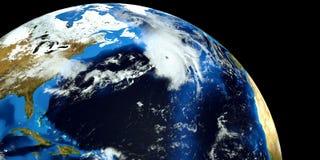 Εξαιρετικά λεπτομερής και ρεαλιστική τρισδιάστατη απεικόνιση υψηλής ανάλυσης ενός τυφώνα στην ατλαντική θάλασσα Πυροβοληθείς από  Στοκ Φωτογραφία