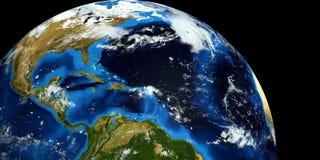 Εξαιρετικά λεπτομερής και ρεαλιστική τρισδιάστατη απεικόνιση υψηλής ανάλυσης ενός τυφώνα στην ατλαντική θάλασσα Πυροβοληθείς από  Στοκ εικόνα με δικαίωμα ελεύθερης χρήσης