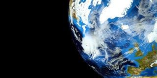 Εξαιρετικά λεπτομερής και ρεαλιστική τρισδιάστατη απεικόνιση υψηλής ανάλυσης ενός τυφώνα στην ατλαντική θάλασσα Πυροβοληθείς από  Στοκ Φωτογραφίες