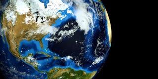 Εξαιρετικά λεπτομερής και ρεαλιστική τρισδιάστατη απεικόνιση υψηλής ανάλυσης ενός τυφώνα στην ατλαντική θάλασσα Πυροβοληθείς από  Στοκ Εικόνες