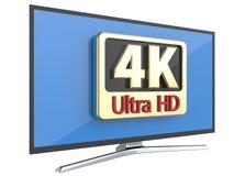 Εξαιρετικά υψηλή έννοια τεχνολογίας τηλεοπτικής οθόνης καθορισμού ψηφιακή: 4K TV UltraHD ή επίδειξη οργάνων ελέγχου PC υπολογιστώ Στοκ Εικόνα
