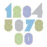 Εξαιρετικοί στρογγυλοί ριγωτοί αριθμοί Διανυσματικά ψηφία διανυσματική απεικόνιση