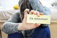 Εξαντλημένη γυναίκα στοκ φωτογραφία