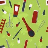 Εξαρτήματα και εργαλεία για το μανικιούρ και το pedicure πρότυπο άνευ ραφής Στοκ Εικόνα