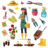 Εξαρτήματα κηπουρών κινούμενων σχεδίων καθορισμένα Η κηπουρική απομόνωσε τον επίπεδο κατάλογο με το πότισμα δοχείων λουλουδιών εγ διανυσματική απεικόνιση