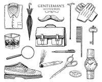 Εξαρτήματα κυρίων καθορισμένα hipster ή επιχειρηματίας, βικτοριανή εποχή χαραγμένος συρμένος χέρι τρύγος ξοντρά παπούτσεις, χαρτο Στοκ Εικόνα