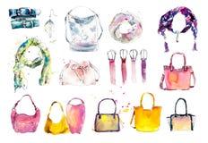 Εξαρτήματα: μαντίλι, τσάντα, ζώνες Συρμένη χέρι απεικόνιση Watercolor διανυσματική απεικόνιση