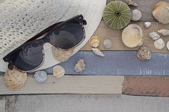 Εξαρτήματα παραλιών στον ξύλινο πίνακα Στοκ Εικόνες