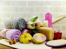 εξαρτήματα SPA με τα προϊόντα λουτρών κρέμας σαπουνιών και ντους σαμπουάν Στοκ φωτογραφίες με δικαίωμα ελεύθερης χρήσης
