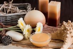 Εξαρτήματα SPA με το σαπούνι, κύπελλο με τα ξηρά chamomile λουλούδια, κομμάτι Α του άσπρου σαπουνιού, υγρό καφετί σαπούνι, κοχύλι Στοκ Εικόνες