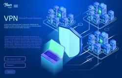 Εξασφαλίστε την εικονική ιδιωτική έννοια δικτύων Isometric διανυσματική απεικόνιση της υπηρεσίας vpn Στοκ Εικόνα