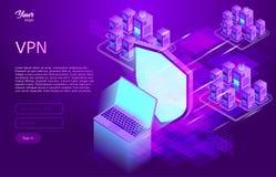 Εξασφαλίστε vpn την έννοια Isometric διανυσματική απεικόνιση της εικονικής ιδιωτικής υπηρεσίας δικτύου Στοκ Φωτογραφία
