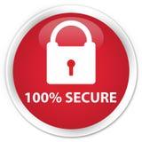 100% εξασφαλίζουν το κόκκινο στρογγυλό κουμπί ασφαλίστρου Στοκ εικόνα με δικαίωμα ελεύθερης χρήσης