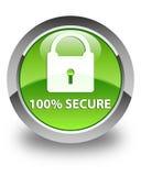 100% εξασφαλίζουν το στιλπνό πράσινο στρογγυλό κουμπί Στοκ φωτογραφία με δικαίωμα ελεύθερης χρήσης