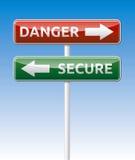 Εξασφαλίστε - οδικός πίνακας κινδύνου. Στοκ Φωτογραφία