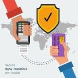 Εξασφαλίστε τις μεταφορές τραπεζών παγκοσμίως Στοκ Φωτογραφίες