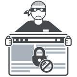 Εξασφαλίστε τον ιστοχώρο - απατεώνας Διαδικτύου (χάκερ) Στοκ φωτογραφία με δικαίωμα ελεύθερης χρήσης