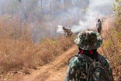 Εξαφανίζοντας δασικές πυρκαγιές εργασίας στοκ εικόνα με δικαίωμα ελεύθερης χρήσης