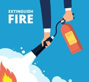 Εξαφανίστε την πυρκαγιά Πυροσβέστης με τον πυροσβεστήρα Κατάρτιση και προστασία έκτακτης ανάγκης από τη διανυσματική έννοια φλογώ διανυσματική απεικόνιση