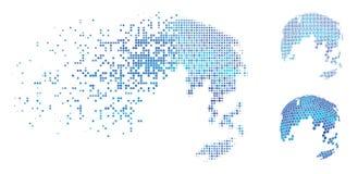 Εξαφανιμένος εικονίδιο γήινων αφηρημένο σφαιρών σημείων ημίτονο Hexagon Διανυσματική απεικόνιση