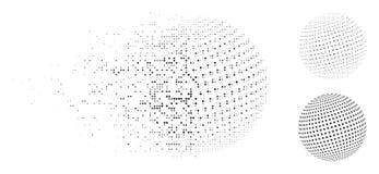 Εξαφανιμένος εικονίδιο σφαιρών σημείων εικονοκυττάρου ημίτονο αφηρημένο Διανυσματική απεικόνιση