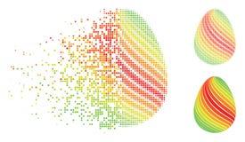 Εξαφανιμένος ημίτονο αφηρημένο αυγό Pixelated με το διαγώνιο εικονίδιο λωρίδων Απεικόνιση αποθεμάτων