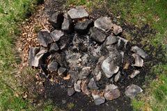 Εξαφανισμένη θέση πυρκαγιάς στρατόπεδων Στοκ εικόνες με δικαίωμα ελεύθερης χρήσης