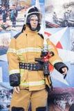 Εξειδικευμένη ασφάλεια έκθεσης, προστασία, σωτηρία Μανεκέν του πυροσβέστη στοκ εικόνα