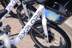 Εξερευνήστε πηγαίνει οπουδήποτε ενοίκια Μέμφιδα ποδηλάτων στοκ εικόνες