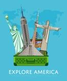 Εξερευνήστε το έμβλημα της Αμερικής με τη διάσημη έλξη Στοκ Εικόνα