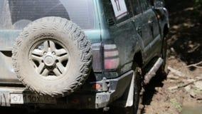 Εξερευνητικό SUV οδηγά αργά μέσω του δάσους φιλμ μικρού μήκους
