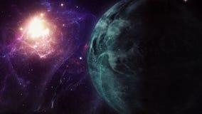 Εξερεύνηση Exoplanet - φαντασία και υπερφυσικό τοπίο, με το νεφέλωμα στο υπόβαθρο φιλμ μικρού μήκους