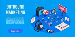 Εξερχόμενο μάρκετινγκ isometric Βελτιστοποίηση πωλήσεων αγορών εμπορίου, εταιρικό crm και κοινωνική επικοινωνία αγγελιών μέσων διανυσματική απεικόνιση