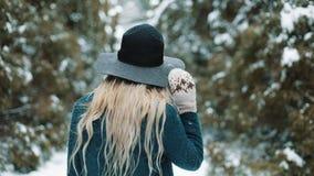 Εξετάστε από πίσω την κυρία στο πράσινο καπέλο και ένα παλτό περπατώντας γύρω από ένα χειμερινό δάσος που το κορίτσι κοιτάζει και απόθεμα βίντεο