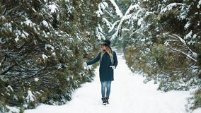 Εξετάστε από πίσω την κυρία στο πράσινο καπέλο και ένα παλτό περπατώντας γύρω από ένα χειμερινό δάσος που το κορίτσι κοιτάζει και φιλμ μικρού μήκους