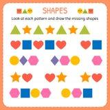 Εξετάστε κάθε σχέδιο και σύρετε τις ελλείπουσες μορφές Μάθετε τις μορφές και τους γεωμετρικούς αριθμούς Φύλλο εργασίας παιδικών σ διανυσματική απεικόνιση