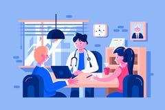 Εξετασμένοι γιατρός ασθενείς διανυσματική απεικόνιση