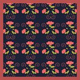 Εξευγενίστε το χαριτωμένο σχέδιο μαντίλι των λουλουδιών στο καθιερώνον τη μόδα χρώμα κοραλλιών στο υπόβαθρο ναυτικών ελεύθερη απεικόνιση δικαιώματος