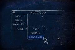 Εξελισσόμενες επιλογές επιτυχίας, δείκτης που επιλέγουν τη Configure επιλογή Στοκ Φωτογραφίες