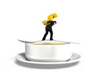 Εξισορρόπηση σημαδιών δολαρίων μεταφοράς ατόμων στο κουτάλι με το κύπελλο σούπας Στοκ Φωτογραφία