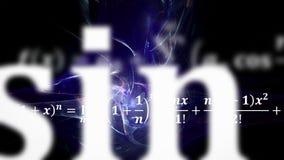 Εξισώσεις Math που πετούν και που εξαφανίζονται στην απόσταση στοκ φωτογραφία