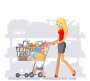 Εξοπλισμός αγορών γονέων μητέρων για διανυσματική απεικόνιση σχολικού την επίπεδη σχεδίου παιδιών απεικόνιση αποθεμάτων