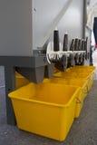 Εξοπλισμός γεωργικών μηχανημάτων - σιτάρια και σπόροι στον αναμίκτη - υψηλή τεχνολογία για γεωργικό, κάθετος Στοκ Εικόνες