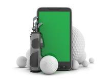 Εξοπλισμός γκολφ και κινητό τηλέφωνο ελεύθερη απεικόνιση δικαιώματος