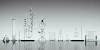 Εξοπλισμός εργαστηρίων χημείας γυαλιού στο άσπρο υπόβαθρο τρισδιάστατη απόδοση ελεύθερη απεικόνιση δικαιώματος