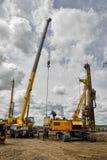 Εξοπλισμός κατασκευής στη δράση Tyumen Στοκ Φωτογραφία