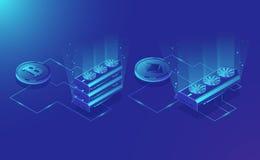 Εξοπλισμός μεταλλείας Cryptocurrency, isometric απόσπασμα νομίσματος ethereum ψηφιακό, blockchain σκούρο μπλε διάνυσμα συστημάτων ελεύθερη απεικόνιση δικαιώματος