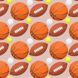 Εξοπλισμός παιχνιδιών ομάδων υποβάθρου αθλητικών άνευ ραφής σχεδίων ελεύθερου χρόνου δραστηριότητας σφαιρών καλαθοσφαίρισης πορτο Στοκ εικόνα με δικαίωμα ελεύθερης χρήσης