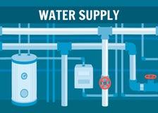 Εξοπλισμός συστημάτων κυκλοφορίας νερού στο υπόγειο ελεύθερη απεικόνιση δικαιώματος